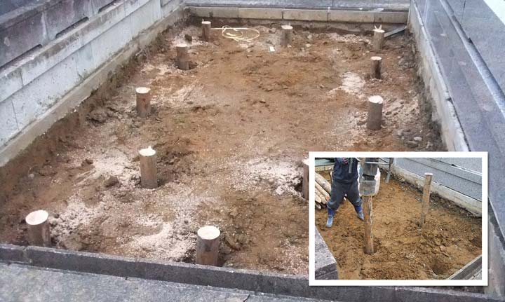 墓地 基礎耐震強化 支柱