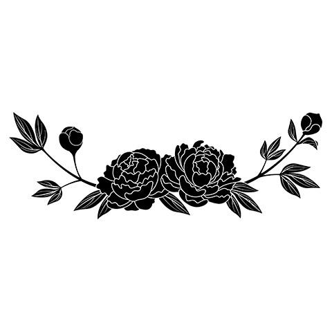 墓石紋様彫刻 芍薬
