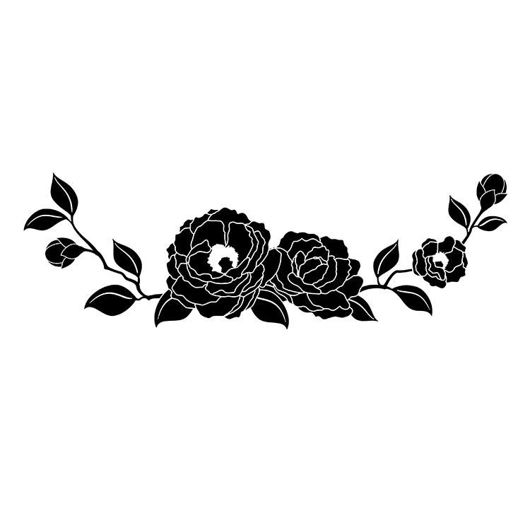 墓石紋様彫刻 山茶花
