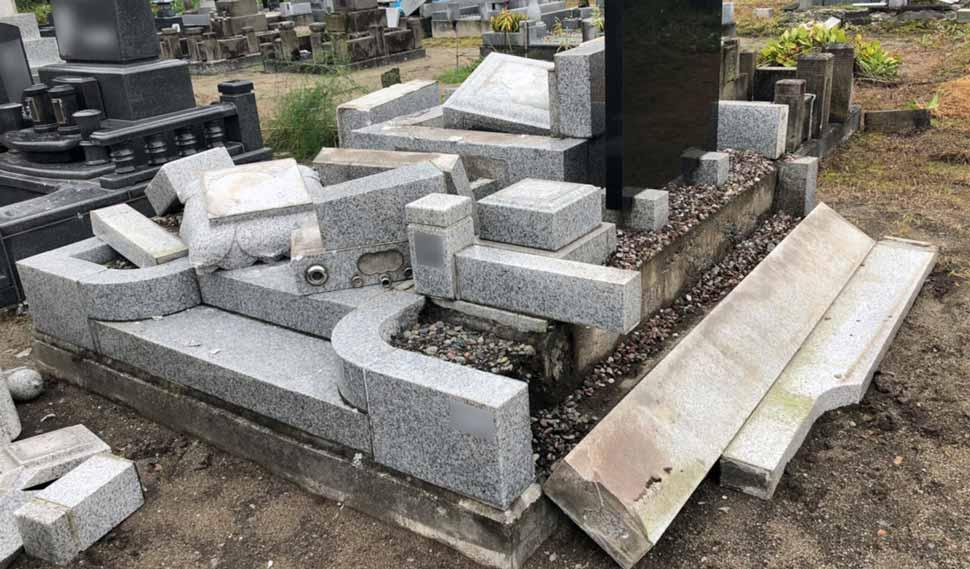 北海道胆振東部地震 墓石倒壊